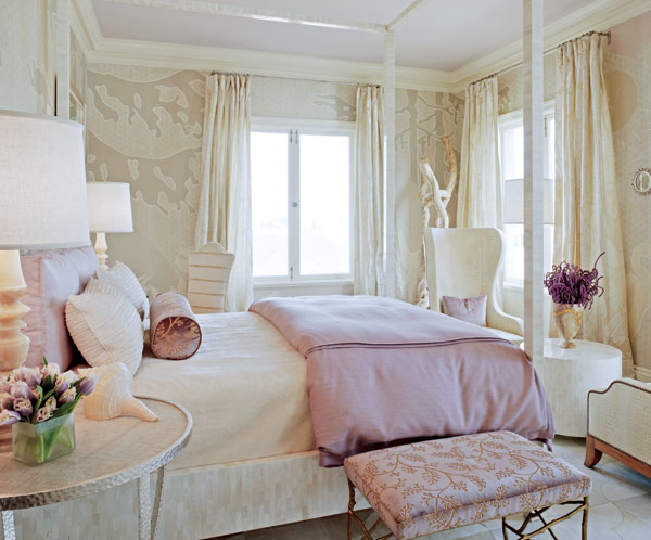 modern chic fairytale style bedroom purple lilac beige white