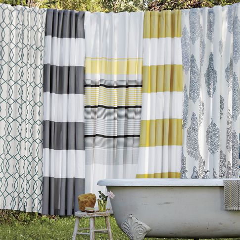 Organic Cotton Shower Curtain Gold Striped Shower Curtain